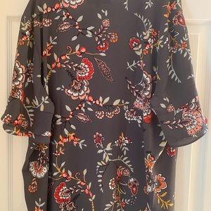 Loft New Plus Size Floral Short Sleeve Shirt
